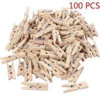 100 PCS Natural Mini Wooden Clips for Clothespins Decorative Photos Papers