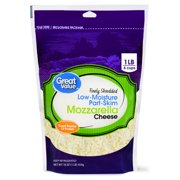 Great Value, Finely Shredded Mozzarella Cheese, Low-Moisture Part-Skim, 16 Oz.