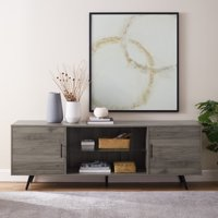"Manor Park 70"" Mid-Century Modern 2-Door Console TV Stand - Slate Grey"