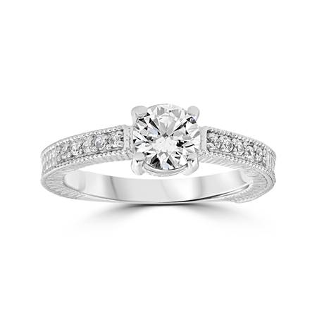 Vintage Diamond Engagement Ring 1 Carat 14K White Gold Round Brilliant Cut ()
