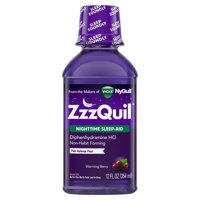 Vicks ZzzQuil Nighttime Sleep Aid Liquid, Warming Berry Flavor, Fall Asleep Fast and Wake Refreshed, 12 Fl oz