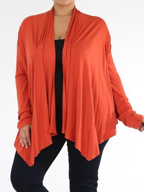 Plus Size Women's Open Front Solid Cardigan