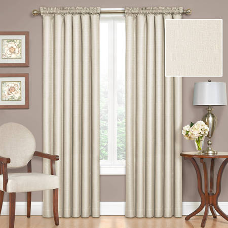 Eclipse Samara Room Darkening Energy-Efficient Thermal Curtain Panel - Ivory Lined Curtains