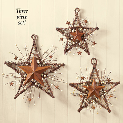 Charming Rustic Country Primitive Berry Star Wall Decor Set