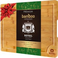 XL Cutting Board - Extra Large Bamboo Cutting board for Kitchen - Butcher Block for Chopping Meat and Vegetables by Royal Craft Wood