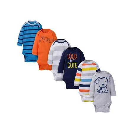 Assorted Long Sleeve Bodysuits Set, 6pk (Baby Boy)](Boys Santa Onesie)