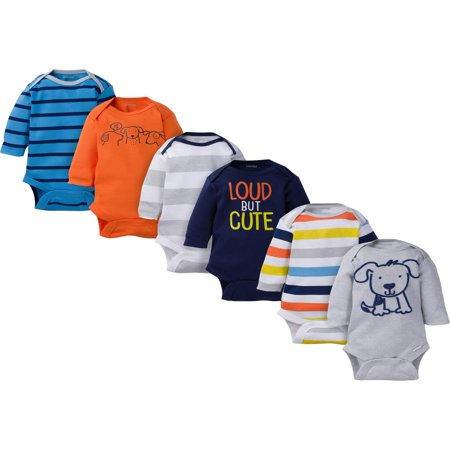 Assorted Long Sleeve Bodysuits Set, 6pk (Baby Boy)](Mens Body Suit)
