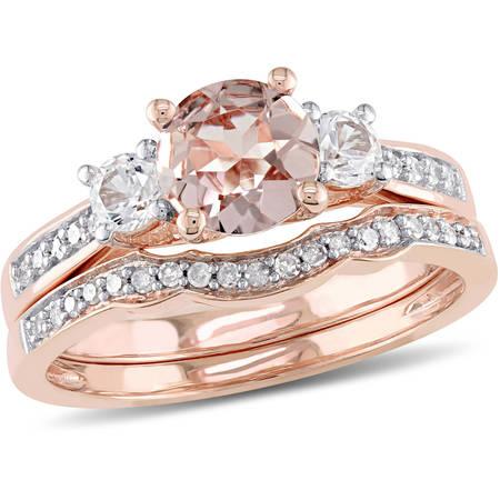 1-1/7 Carat T.G.W. Morganite, Created White Sapphire and 1/7 Carat T.W. Diamond 10kt Rose Gold Bridal Set