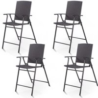 Costway 4 PCS Folding Rattan Wicker Bar Stool Chair Indoor &Outdoor Furniture Brown