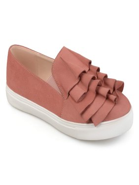 Women's Faux Suede Slip-on Ruffle Sneakers