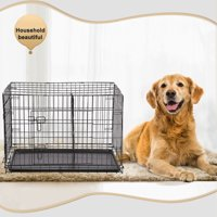 """BestPet 42"""" Wire Metal Folding Pet Dog Cage Crate Kennel W/2-doors w/ ABS Pla..."""