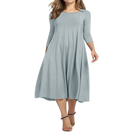 Nlife Women 3/4 Sleeve Round Neck Swing Midi Dress