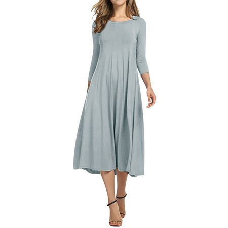 Nlife Women 3/4 Sleeve Round Neck Swing Midi Dress - Specialty Dresses