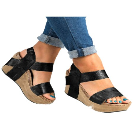 Women Casual Wedge High Heel Open Toes Sandals Platform Shoes (High Heel Fetish Platforms Sandals)
