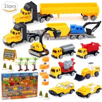 Car Vehicle Toys Birthday Party Educational Set with Diggers, Mixing Truck, Construction Trucks, Helicopter, and Accessories 20 PCs F-65