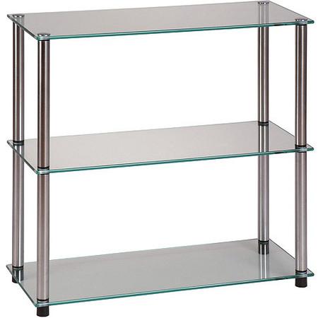Convenience Concepts Designs2Go No Tools 3-Shelf Glass Bookcase, Multiple Colors