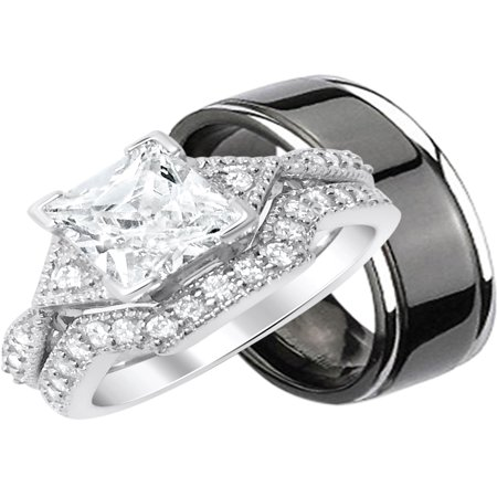 His Hers 3 Piece Sterling Silver & Black Titanium Matching Wedding Band Ring Set for HIm