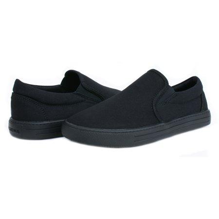 OwnShoe Women's Sunbrella Slip Resistant Shoes Slip On Sneaker (Black Non Slip Shoes Women)