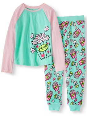 Girls' 2 Piece Cozy Graphic Top And Printed Jogger Pant Sleepwear Set