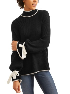 Women's Contrast Stitch Sweater with Tie-Sleeve Detail
