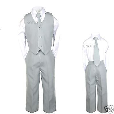 Baby Boys Toddler Teen Wedding Formal Party Vest Set Silver Gray Grey Suits S-20](Boys Wool Suits)