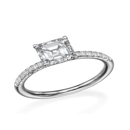 D-F VS 6.50MM Forever One Moissanite Engagement Ring With Diamonds (0.42 ct Moissanite Weight, 1.44 ctw dew) Asscher Cut 14K Gold (Asscher Cut Vs Princess Cut)