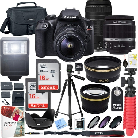 Canon T6 EOS Rebel DSLR Camera with EF-S 18-55mm f/3.5-5.6 IS II and EF 75-300mm f/4-5.6 III Lens and SanDisk Memory Cards 16GB 2 Pack Plus Triple Battery Accessory (Best Price On Canon Eos Rebel T3i)