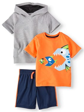 Toddler Boys' French Terry Hoodie, Graphic Tee, Striped Shorts and Mesh Athletic Shorts, 4-Piece Outfit Set