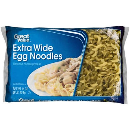 (4 pack) Great Value Extra Wide Egg Noodles, 16 oz