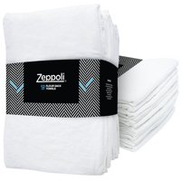 "Zeppoli 12-Pack Flour Sack Towels - 31"" x 31"" Kitchen Towels - Absorbent White Dish Towels - 100% Ring-Spun Cotton Bar Towels"