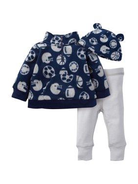 Gerber Childrenswear LLC Microfleece Zip Jacket, Pant & Hat 3pc Outfit Set (Baby Boy)