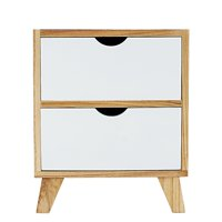 """DL furniture-White / Ash Oak Finish Side End Table Nighstand with Two Drawer 17""""H - Mid-Century Style"""