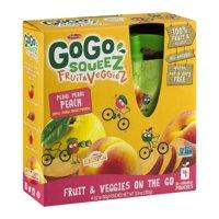 (3 Pack) GoGo Squeez Fruit & Veggiez Fruit & Veggies On The Go Pedal Pedal Peach - 4 CT