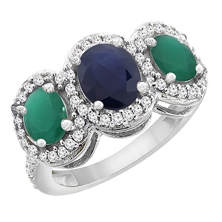 10K White Gold Natural Blue Sapphire & Cabochon Emerald 3-Stone Ring Oval Diamond Accent, size 5.5