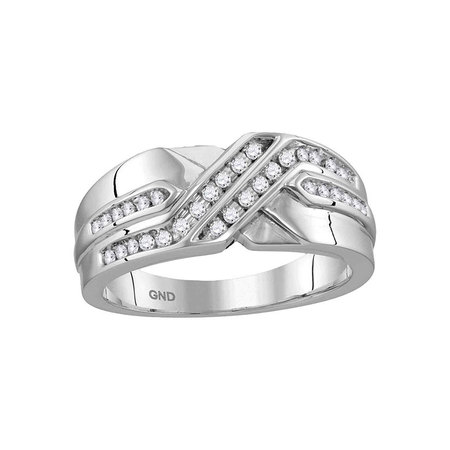 10kt White Gold Mens Round Diamond Two Row Wedding Anniversary Band Ring 1/4 Cttw Diamond Fine Jewelry Ideal Gifts For Mens Gift Set From Heart