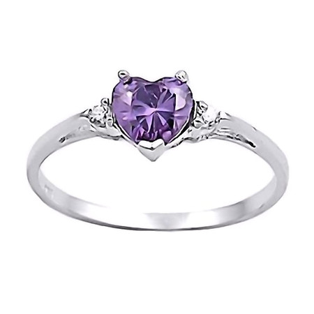 Amy: 0.81ct Heart Cut Russian Amethyst Ice CZ Promise Friendship Ring sz 4.0