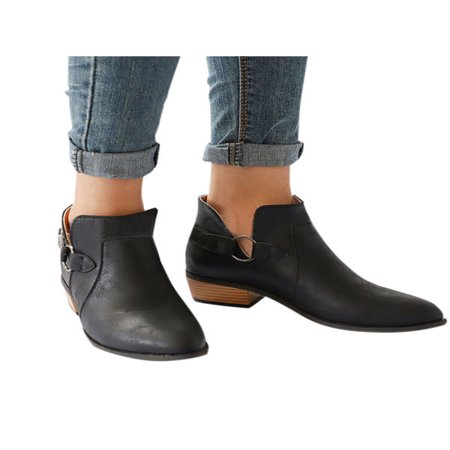- Fashion Women Leather Ankle Boots Flats Casual Sandals Beach Low Heel Shoes