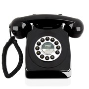 Retro Design Corded Landline Phone - Classic Vintage Old Fashioned Rotary Dial Style Desk Table Home Office Coiled Cord Handset w/Button Dialing, Standard Telephone Jack - Pyle PPRETRO25BK (Black)