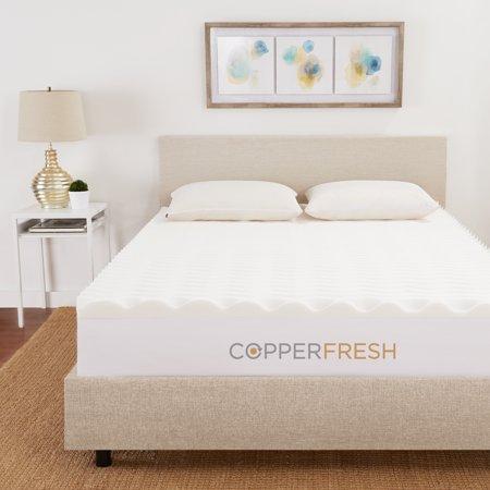 Copperfresh 2 Quot Wave Foam Mattress Topper Walmart Com