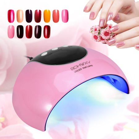 Lv. life 24W Nail Art Dryer Manicure UV LED Nail Gel Polish Curing Light Lamp Smart Auto Sensor USB Nail Art Mini Dryer (Pink)