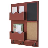 Mail Organizer with Cork Board, Chalkboard, Coat Hooks & Double Mail Slots