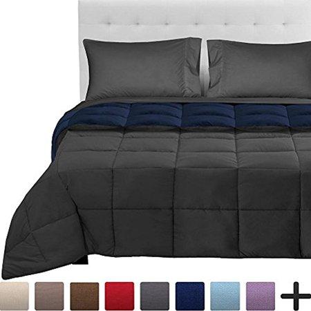 5-Piece Reversible Bed-In-A-Bag - Queen (Comforter: Dark Blue / Grey, Sheet Set: (Blue Queen Comforter)