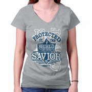 70120ed04b7f7 Protected By The Shield Savior Christian Shirt Religious Gift Junior V-Neck  Tee
