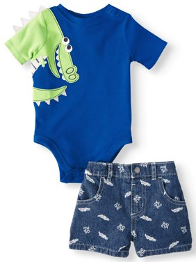 Baby Boys' 3D Critter Bodysuit and Print Shorts, 2-Piece Outfit Set