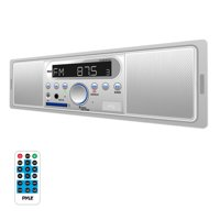 PYLE PLMR7BTW - Marine Bluetooth Stereo Radio - 12v Single DIN Style Digital Boat in Dash Radio Receiver System with Built-in Mic and Speakers, RCA, MP3, USB, SD, AM FM Radio - Remote Control (White)