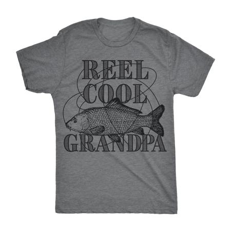 Mens Reel Cool Grandpa Tshirt Funyy Outdoor Fishing Tee For Fathers (Reel Free T-shirt)
