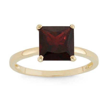 10k gold princess cut gemstone ring