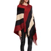 c40826ad387859 Women's Elegant Knitted Poncho Top with Stripe Patterns and Fringed Sides