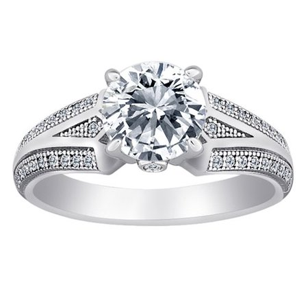 Majestic Sterling Silver Micropave Solitaire CZ Vintage Inspired Ring