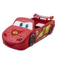 Disney Pixar Cars Lightning McQueen Plastic Convertible Toddler-to-Twin Car Bed with Lights & Toy Box by Delta Children